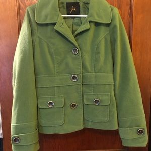 Green Button Down Peacoat